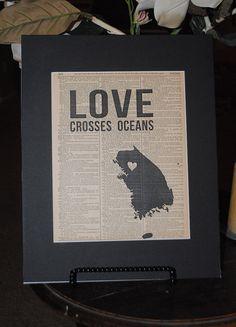 Love Crosses Oceans - South Korea  (Vintage art print by RedeemedTreasures) $15.00