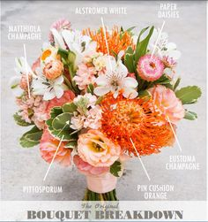 BOUQUET BREAKDOWN  pin cushion orange pittosporum eustoma champagne alstromeria white matthiola champagne paper daisies BOUQUET BY: Floral Magic PHOTOGRAPHY: Ivan Tan Photography #bouquetbreakdown #bouquet