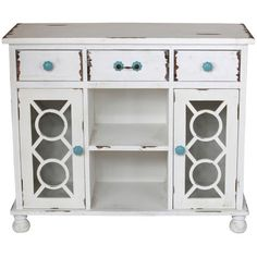Wood sideboard in white with three drawers and two latticework doors. Product: SideboardConstruction Material: Wood