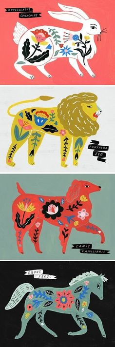 Illustrations by Sarah Walsh / folk art science creatures Arte Popular, Art And Illustration, Animal Illustrations, Diy Y Manualidades, Art Plastique, Art Inspo, Art Paintings, Indian Paintings, Abstract Paintings