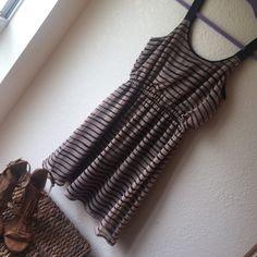 Xhilaration Striped Dress! Flowy- nude and black striped dress, size S, black underlining; hits just above knee. Xhilaration Dresses Midi