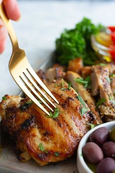 The best garlic chicken recipe with a Mediterranean twist! Juicy chicken flavored with a delicious lemon garlic marinade and seared to perfection. This chicken is perfect with salad, rice or potatoes. Grilling and baking instructions are included. #mediterraneanrecipes #mediterraneanfood #garlichchicken #chickenrecipes Mediterranean Chicken, Mediterranean Recipes, Mediterranean Style, Garlic Chicken Recipes, Chicken Flavors, Saffron Chicken, Marinated Chicken Thighs, Greek Potatoes, Turkey Dishes