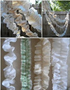 Fabric garland. So cute and easy to make. Plus  wicked affordable if you used muslin.