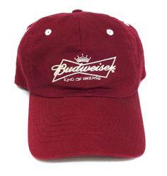 BUDWEISER KING OF BEERS HAT Dark-Red/Maroon & White Relaxed-Fit Cotton Men/Women #AnheuserBusch #BaseballCap