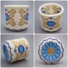 Scroll pattern - beaded basket - collectible basket - bead art - seed beads - beadweaving - bead woven basket
