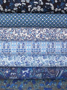 Liberty Lifestyle Fabrics, Stile, Teal in FAT QUARTERS, 7 Total