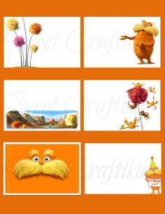 DIY Printable Food Cards/Table Tent Labels -  Dr. Seuss' The Lorax inspired - Digital File