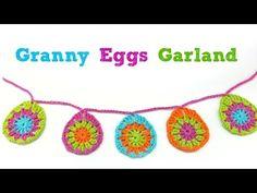 How To Crochet Granny Eggs + Garland, Episode 408 Crochet Granny, Free Crochet, Needle Tatting, Easter Crochet, Learn To Crochet, Easter Eggs, Crochet Projects, Embellishments, Minion