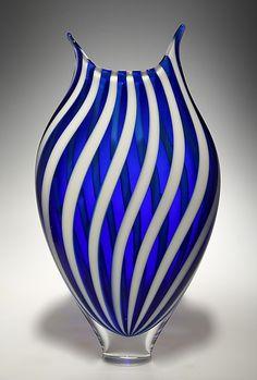 White/Cerulean Foglio by David Patchen   Art Glass Vessel