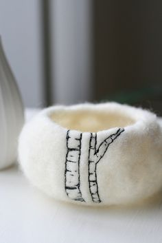 birch trees on felted bowl...