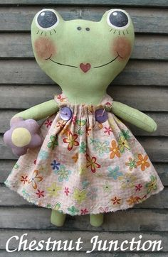 Faye Frog EPATTERN - primitive country cloth doll craft spring summer digital download sewing pattern - 1.99 - PDF