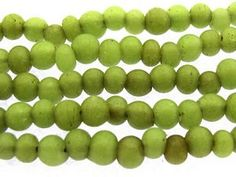 Antiqued Lime Green Roundish Glass Beads 3-5mm (JV967)