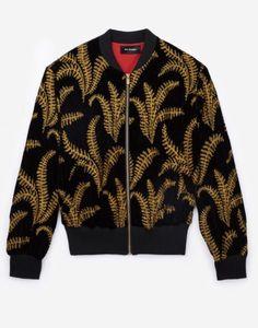 Black velvet bomber jacket with golden embroidery