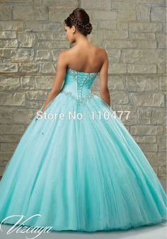 Bead Crystal Sweetheart Modern Vestidos de 15 Anos 2015 TA028 Light Blue Aqua Quinceanera Dresses Ball Gowns