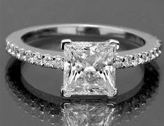 1 3 Ct Vintage Princess Cut Diamond Engagement Ring Certified Halo White Gold   eBay