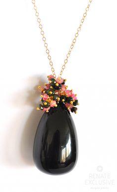 "Large Black Tourmaline Necklace ""Black is Black"" - Handmade Jewelry - Renate Exclusive - 1"