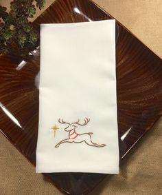 Sparkle Reindeer Cloth Napkins, Christmas napkins