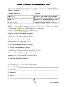 Printables Correlative Conjunctions Worksheets conjunctions coordinating correlative and subordinating practice worksheet