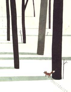 Fox in the snow by Jon Klassen.