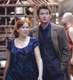 David Tennant as the Tenth Doctor in 'The Fires Of Pompeii' (with Catherine Tate as Donna Noble) - April 2008