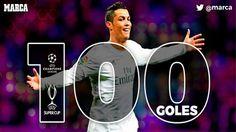 UEFA Champions League Cardiff 2017 Allianz Arena Stadium - 12/04/2017 Bayern Munich 1-2 Real Madrid .   Primer jugador de la historia en lograrlo :   Cristiano firma un doblete histórico para alcanzar su gol 100 en Europa.   El portugués acabó a lo grande con su sequía de seis partidos sin marcar en Champion.
