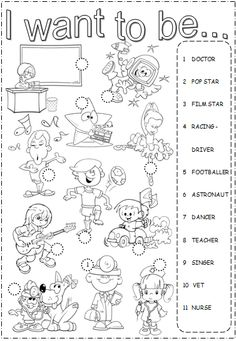 """I want to be"" Worksheet for teaching about Professions English Worksheets For Kids, English Resources, English Activities, School Worksheets, English Lessons, English Time, Kids English, Learn English, English Classroom"