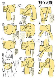 tanuki☼kimono — Step by step musubi knots charts by. Yukata Kimono, Kimono Japan, Akatsuki, Mega Anime, Traditional Japanese Kimono, Diy Accessoires, Cosplay Diy, Japanese Patterns, Japanese Outfits