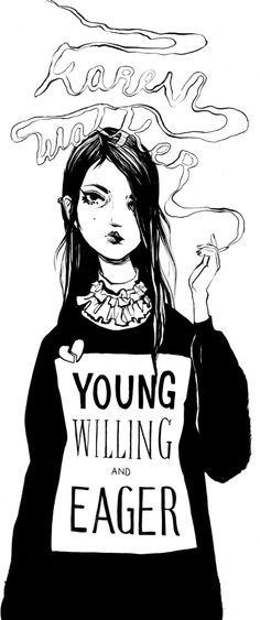 menina desenhando no ceu com a fumaça com camisa com letras  Bijou-Karman-Karen-Walker-Fall-2014