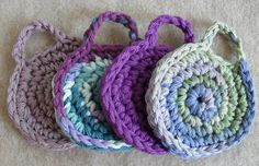 Cotton Crochet Face Scrubbies, assorted colors, Hang to Dry loop (set of 3+)