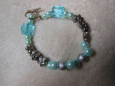 Blue Pearl and Glass Bead Bracelet with Toggle Clasp by handmadejewelrybypam on Etsy