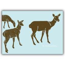 Winterliche Weihnachtskarte mit Rehen: Es weihnachtet.