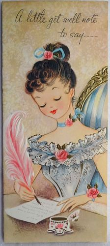 #47-Pretty Girl Writes w/ Quill Pen-Inkwell-Vintage Greeting Card