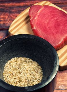 A classic way to add flavor to seared tuna stakes with a spice-heavy crust.