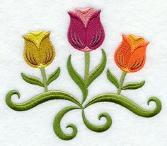 SPRING TULIP TRIO - 2 EMBROIDERED HAND TOWELS by Susan