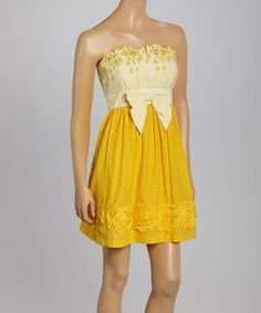 This InspireMe Yellow & White Floral Eyelet Empire-Waist Strapless Dress by InspireMe is perfect! #zulilyfinds
