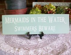 Wood Sign Beach House Mermaids in the Water  Wall Decor Plaque.