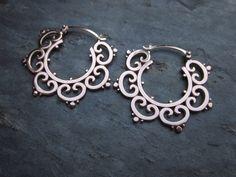 Earrings   Sasha Bell. 'Tribal Hoops'. Sterling silver.