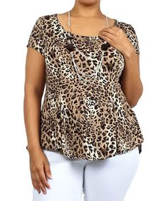 Look at this #zulilyfind! Brown Leopard Peplum Blouse - Plus by 1X 2X 3X & More #zulilyfinds
