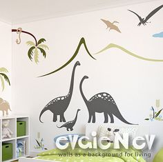 Dinosaurs Wall Decals Dino Wall Stickers - Dinosaurs Family by the Lake Scene Wall Stickers - PLDN010