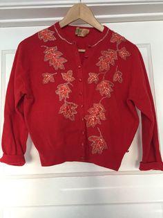 Vintage Ballantyne Cardigan Red Maple Leaves 100 Cashmere Beaded Sweater | eBay