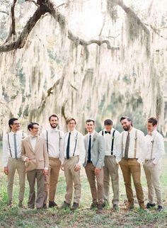 Groomsmen with SUSPENDERS - Intimate St Augustine Wedding captured by Shipra Panosian - via ruffled