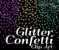 Brillo confeti Clip Art purpurina confeti clip por PaperArtbyMC