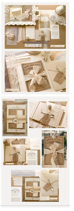 """I always seem to gravitate towards brown chip boardy type stuff. This is really elegant and simple. We could do a really simple one color invitation and then have the color compliments in the """"do-dads"""" around the invites. Just a thought."""