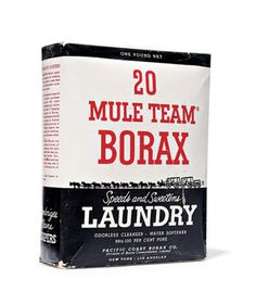 Borax - Add it to a bit of liquid dish soap and tackle the refrigerator shelves. Pour it down a clogged drain along with boiling water. Sprinkle it around the house exterior to deter insects. Dilute and spray it to kill mildew in the bathroom. Pour it in the toilet and let sit overnight; the next day, swish with a brush and flush to get rid of rust stains.