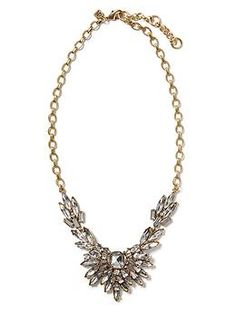Crystal Feather Statement Necklace