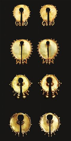 Indonesia ~ Central Flores, Ngada | Round and oval ear ornaments (bela); gold, gold alloy | 19th century || Source: 'Gold Jewellery of the Indonesian Archipelago', page 178