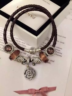 50% OFF!!! $199 Pandora Leather Charm Bracelet Pink Brown. Hot Sale!!! SKU: CB01836 - PANDORA Bracelet Ideas
