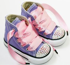 Infant, Toddler Baby Girl Hi-Top Purple Converse Chuck Taylor's With Pink Ribbon Laces & Swarovski Rhinestones | Urban Baby Co.