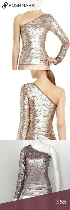 BCBG MAXAZRIA SEQUINED TOP NEW!! One shoulder Sequined Top Perfect for the Holidays!! Lavender Color Bust 15 inches across BCBGMaxAzria Tops Blouses