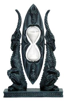 Gothic Dragon Furniture   Rotating Hourglass Counter with Back-to-Back Dragons
